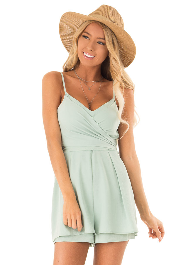 27c0d757c218 ... Sage Romper with Bow Tie Detail and Layered Hem front close up ...