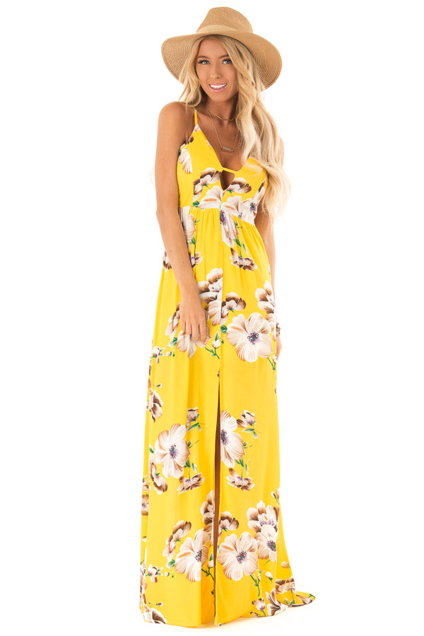 Sunshine Yellow Floral V Neck Maxi Dress with Front Slit front full body