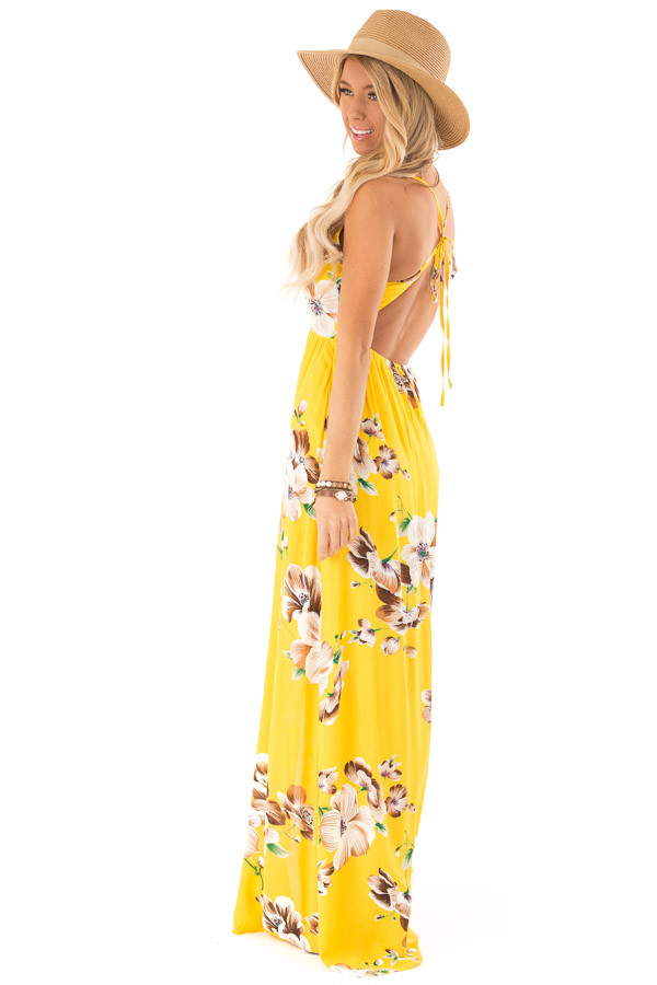 Sunshine Yellow Floral V Neck Maxi Dress with Front Slit side full body