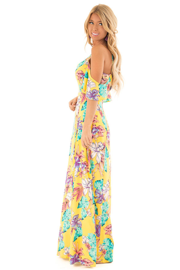 Pineapple Yellow Floral Print Cold Shoulder Maxi Dress side full body