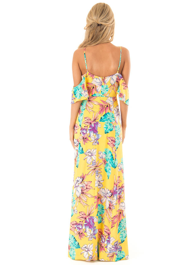 Pineapple Yellow Floral Print Cold Shoulder Maxi Dress back full body