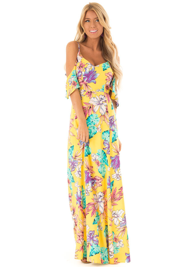 Pineapple Yellow Floral Print Cold Shoulder Maxi Dress front full body