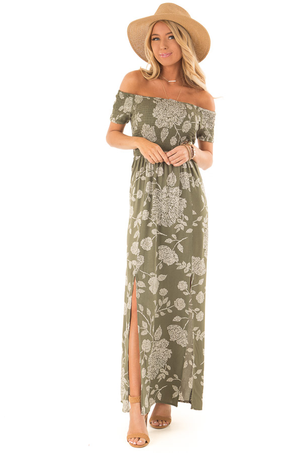 Olive and Cream Floral Off the Shoulder Smocked Maxi Dress front full body