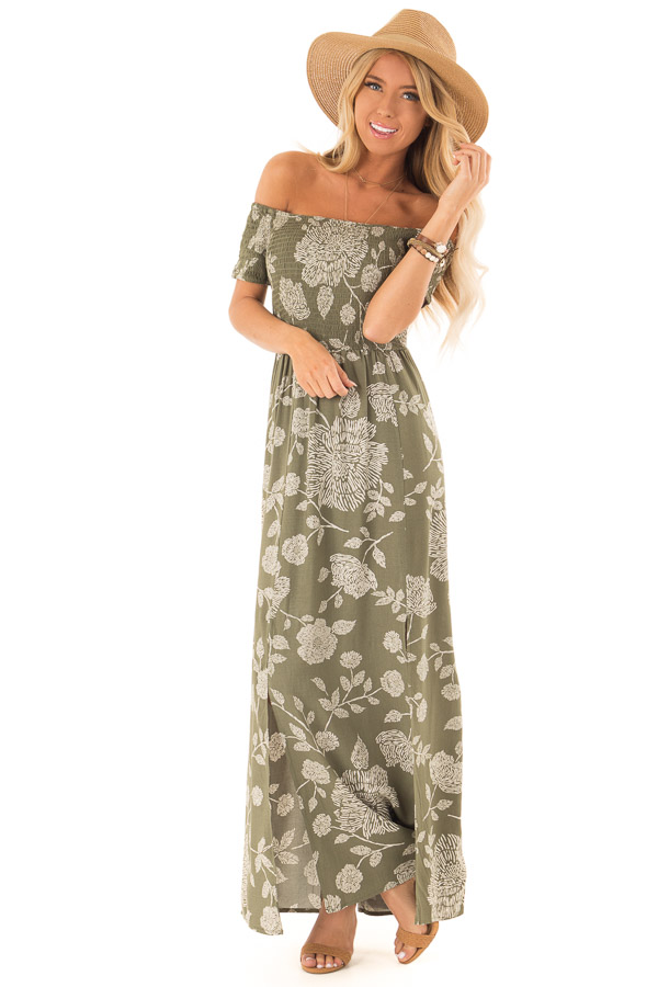 c5ac99823be ... Olive and Cream Floral Off the Shoulder Smocked Maxi Dress front full  body ...