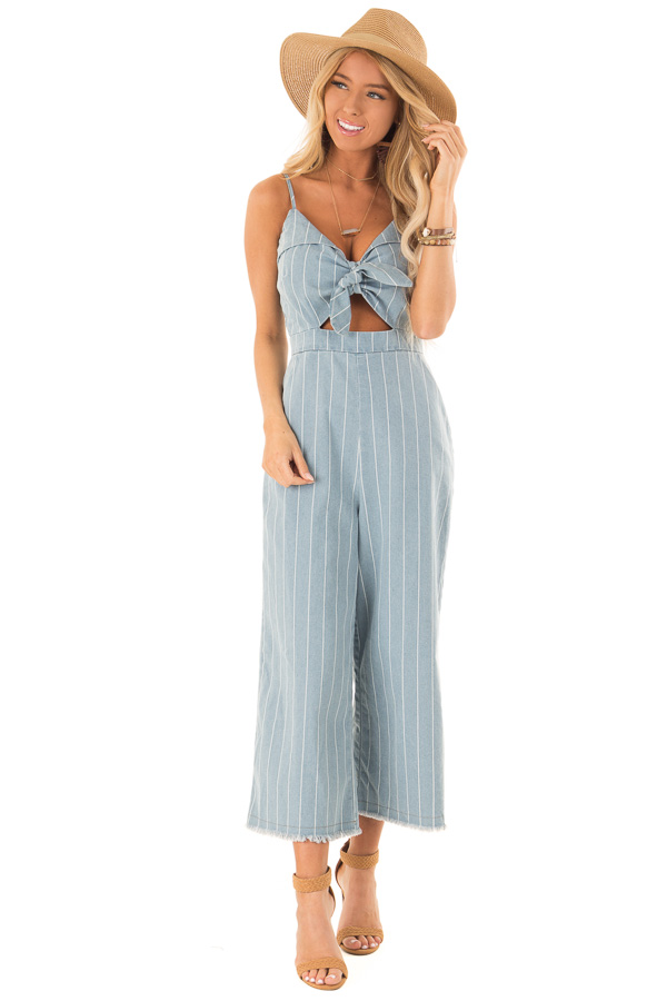 ec2d56ac6664 ... Light Denim Pinstripe Tie Front Jumpsuit with Chest Cutout front full  body ...
