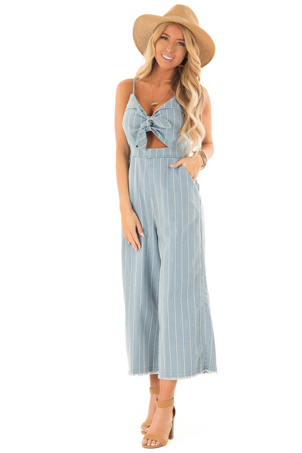6923f4da2f3b Light Denim Pinstripe Tie Front Jumpsuit with Chest Cutout front full body