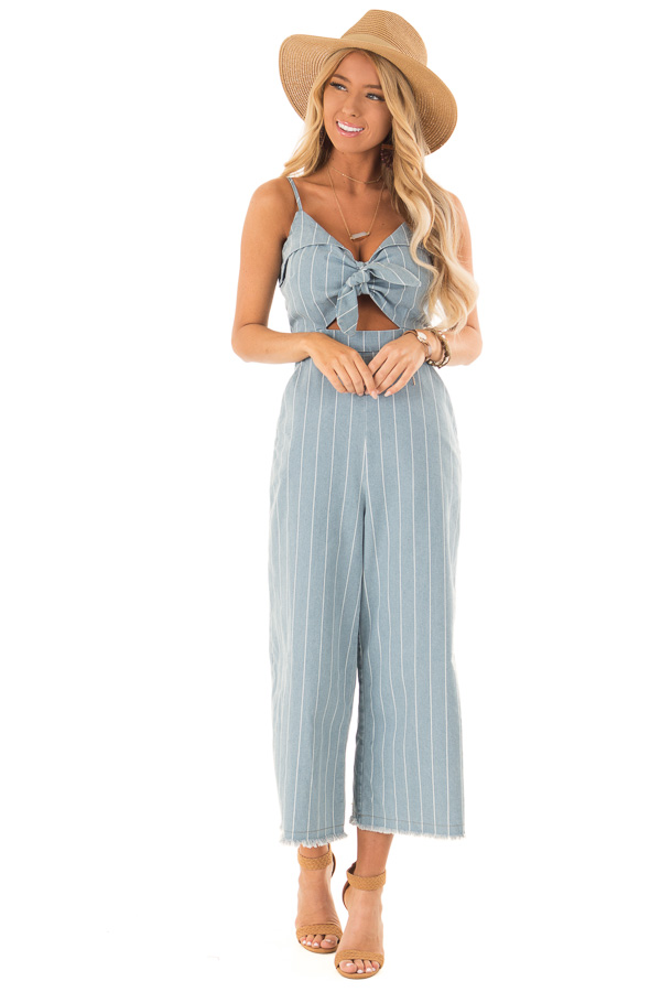 ecd3f3f72fcc Light Denim Pinstripe Tie Front Jumpsuit with Chest Cutout front full body  ...