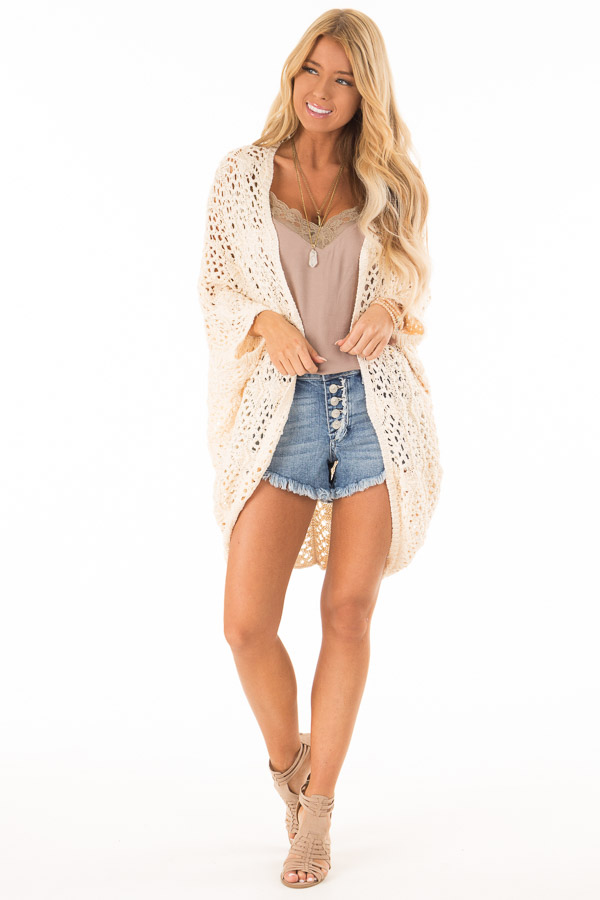 Cream Loose Knit Sweater Cardigan front full body