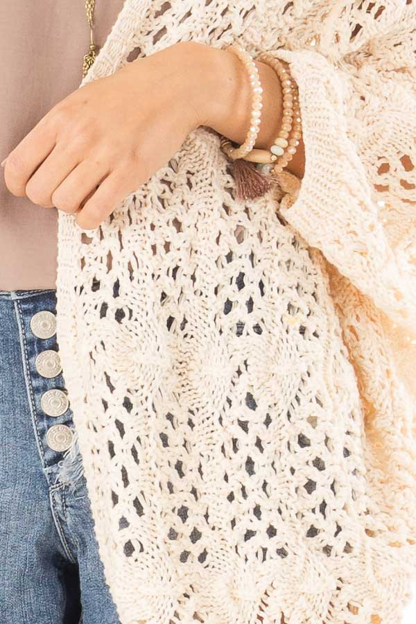 Cream Loose Knit Sweater Cardigan detail