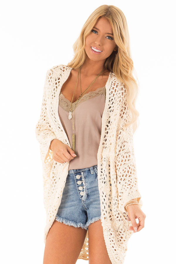 Cream Loose Knit Sweater Cardigan front close up