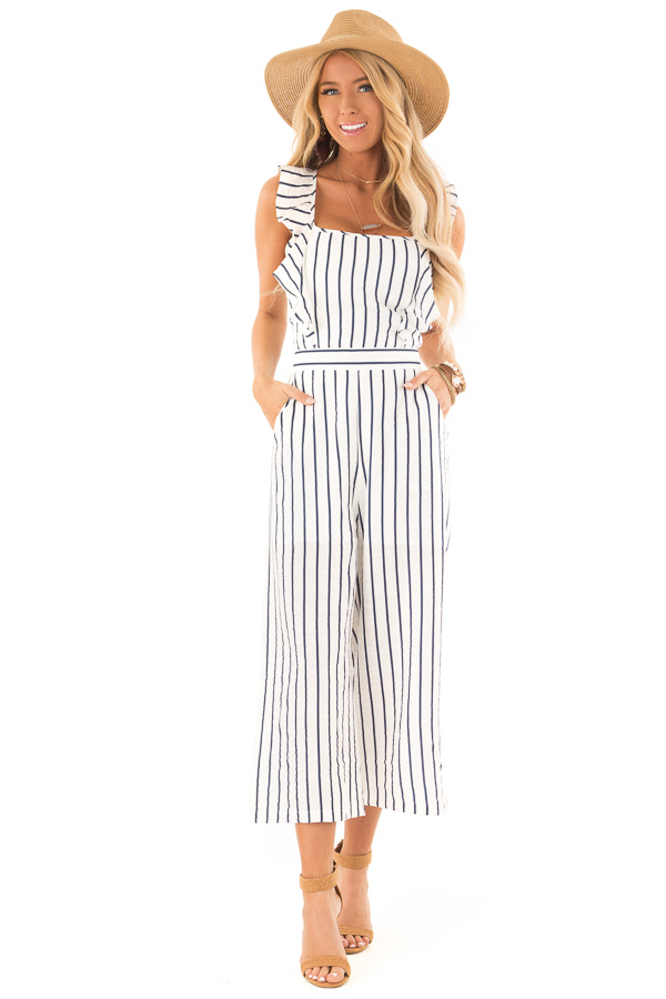 Ivory and Navy Pinstripe Tie Back Jumpsuit with Ruffles front full body