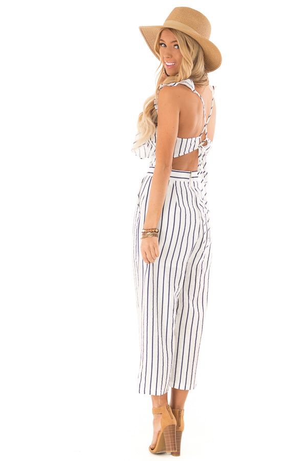 Ivory and Navy Pinstripe Tie Back Jumpsuit with Ruffles side full body