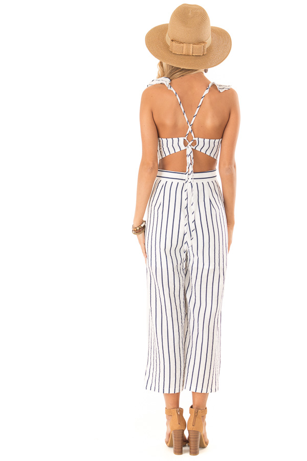Ivory and Navy Pinstripe Tie Back Jumpsuit with Ruffles back full body