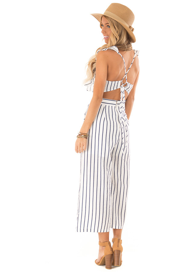 Ivory and Navy Pinstripe Tie Back Jumpsuit with Ruffles back side full body