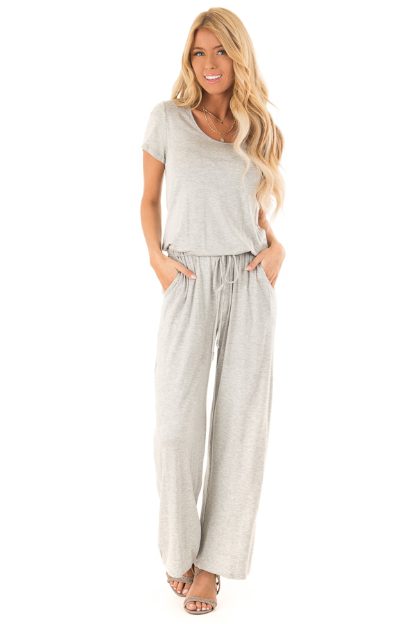 Light Grey Short Sleeve Jumpsuit with Waist Tie and Pockets front full body