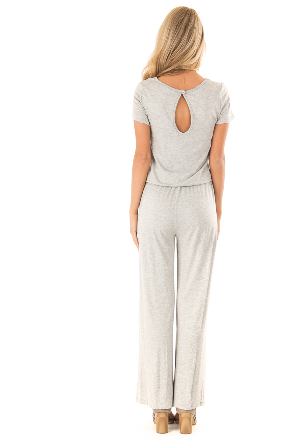 Light Grey Short Sleeve Jumpsuit with Waist Tie and Pockets back full body