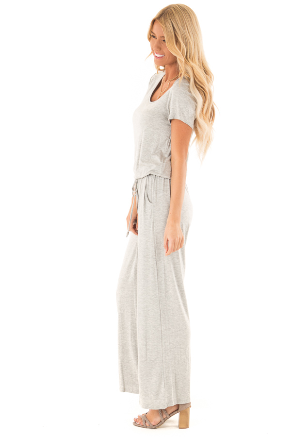 Light Grey Short Sleeve Jumpsuit with Waist Tie and Pockets side full body