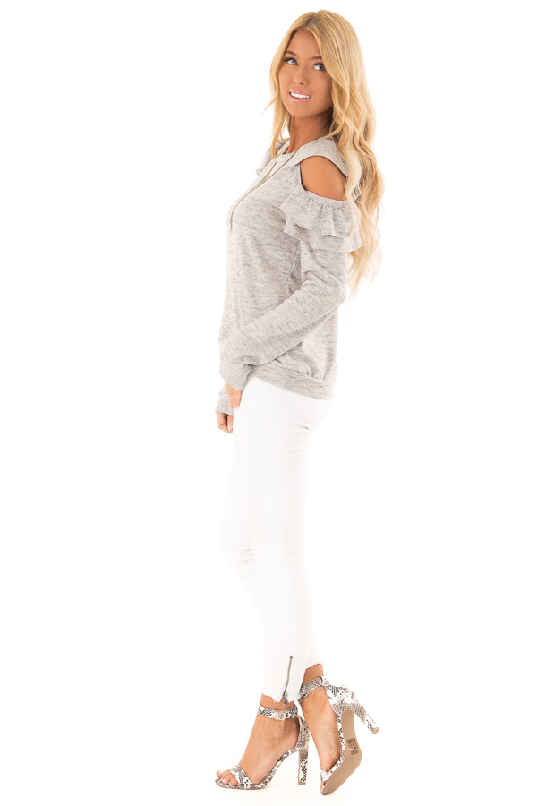 Heather Grey Cold Shoulder Top with Ruffle Detail side full body
