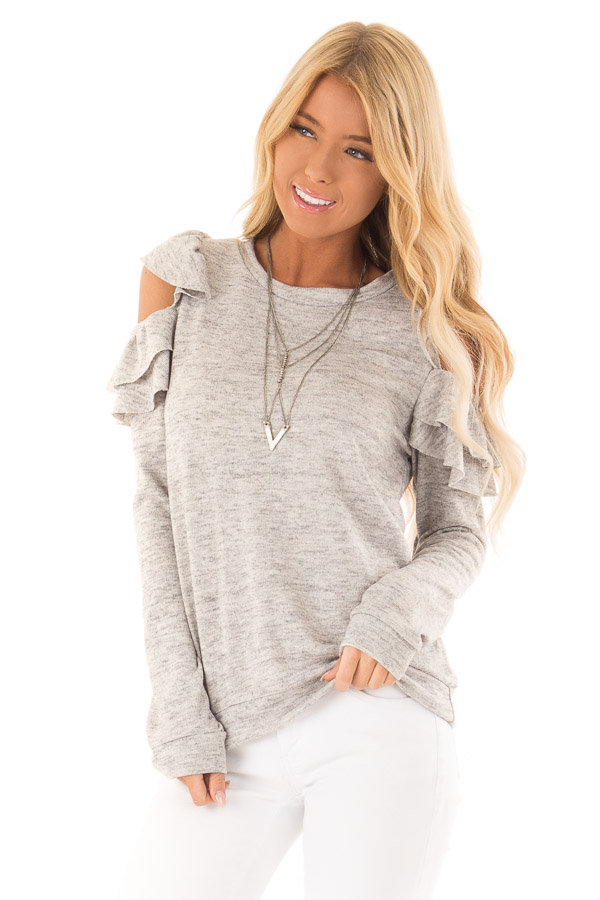 Heather Grey Cold Shoulder Top with Ruffle Detail front close up