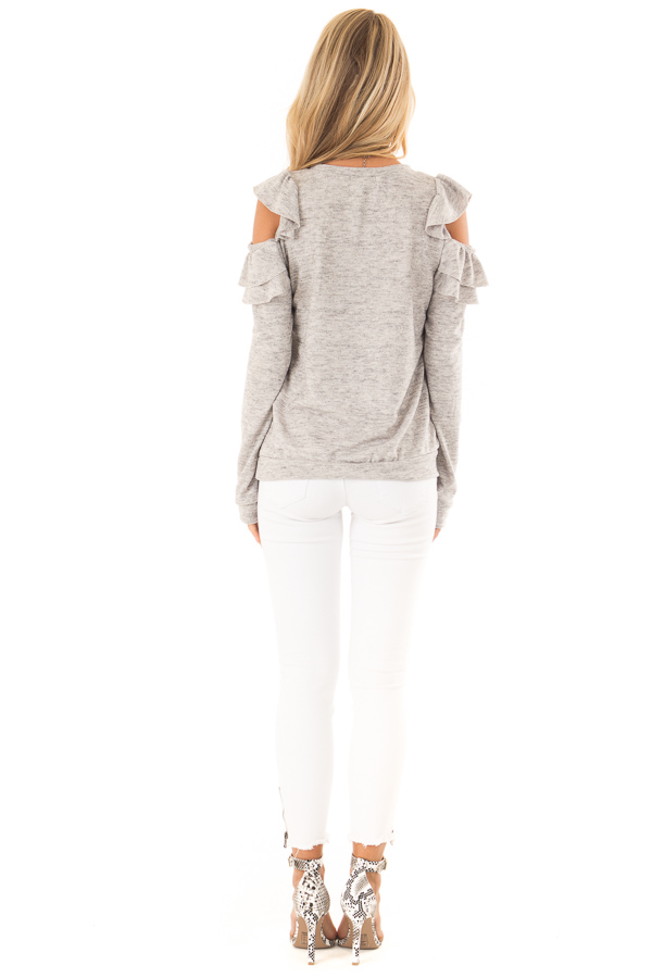 Heather Grey Cold Shoulder Top with Ruffle Detail back full body