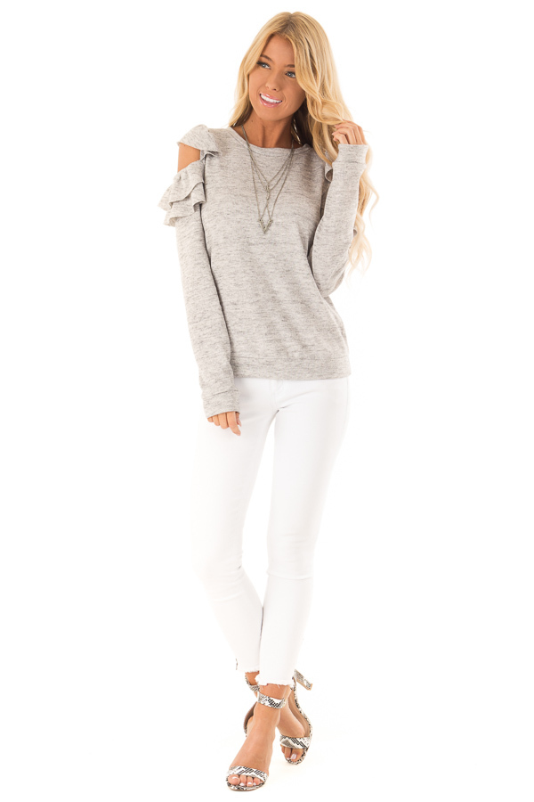 Heather Grey Cold Shoulder Top with Ruffle Detail front full body