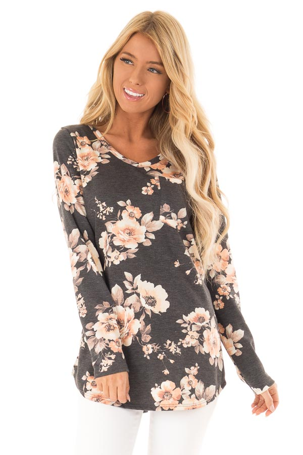 Charcoal Grey Floral Print Top with Chest Pocket front close up