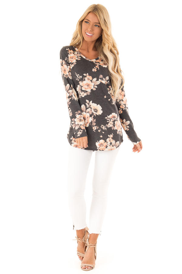 Charcoal Grey Floral Print Top with Chest Pocket front full body