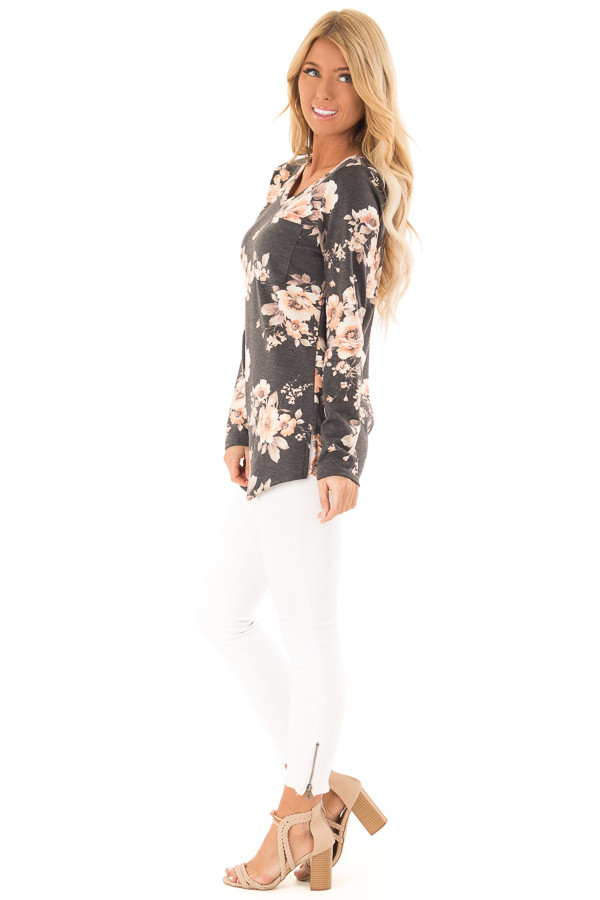 Charcoal Grey Floral Print Top with Chest Pocket side full body