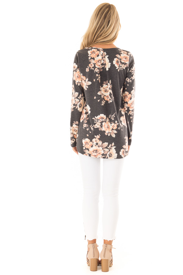 Charcoal Grey Floral Print Top with Chest Pocket back full body