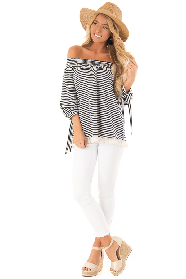 Navy and Ivory Striped Off Shoulder Top with Tassel Detail front full body