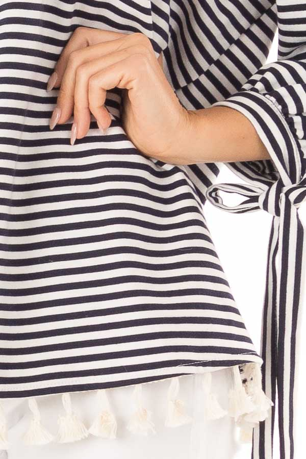 Navy and Ivory Striped Off Shoulder Top with Tassel Detail detail