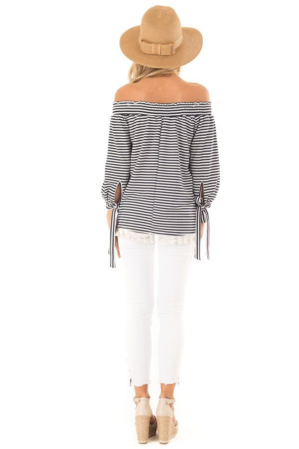 Navy and Ivory Striped Off Shoulder Top with Tassel Detail back full body