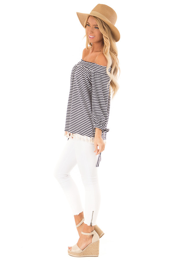 Navy and Ivory Striped Off Shoulder Top with Tassel Detail side full body