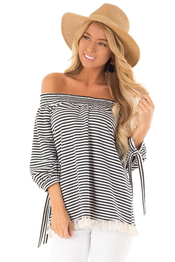 Navy and Ivory Striped Off Shoulder Top with Tassel Detail front close up