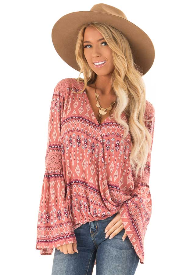 Dusty Rose Multi Color Long Sleeve Wrap Top front close up