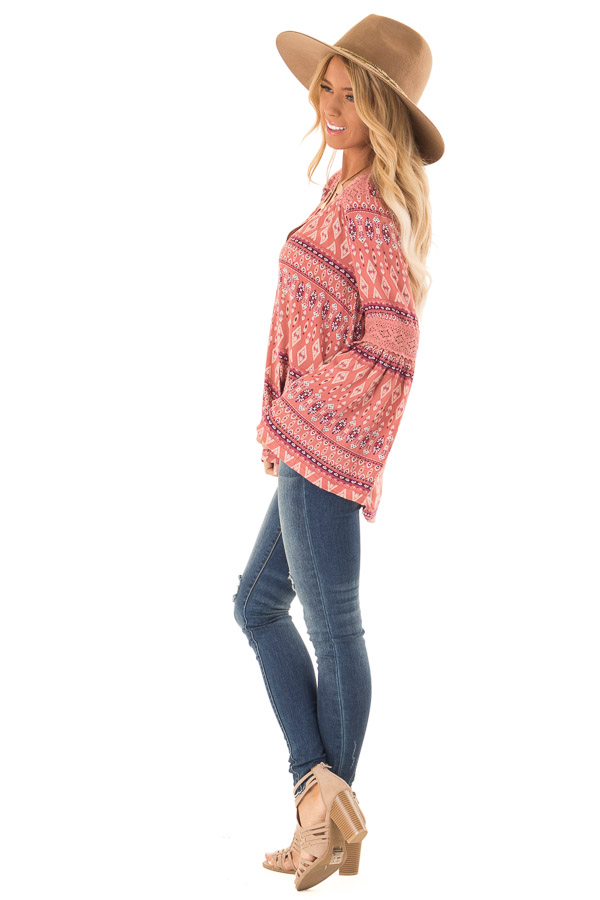 Dusty Rose Multi Color Long Sleeve Wrap Top side full body