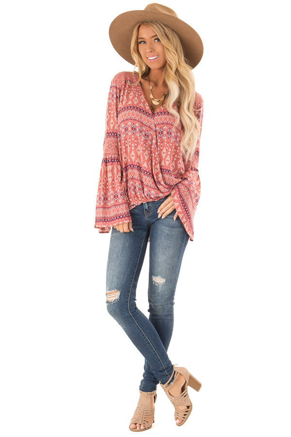 Dusty Rose Multi Color Long Sleeve Wrap Top front full body