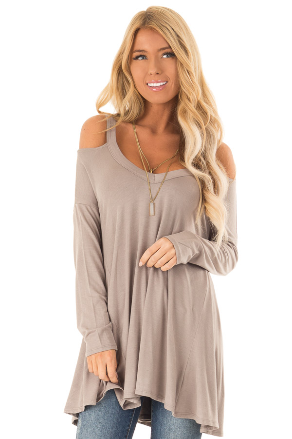 694779e881bda Taupe Cold Shoulder Long Sleeve Swing Top - Lime Lush Boutique