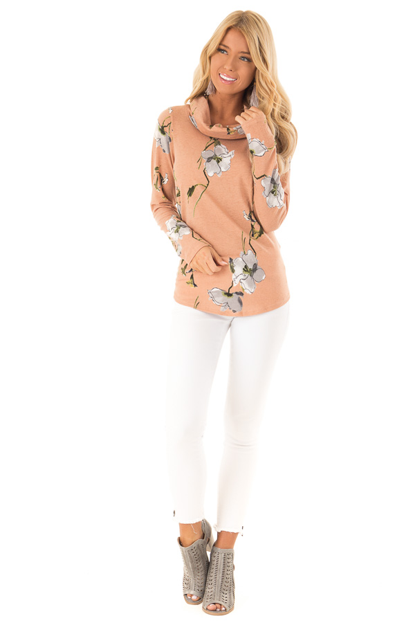bdcd10ddd420 ... Sandstone Floral Print Long Sleeve Cowl Neck Top front full body ...