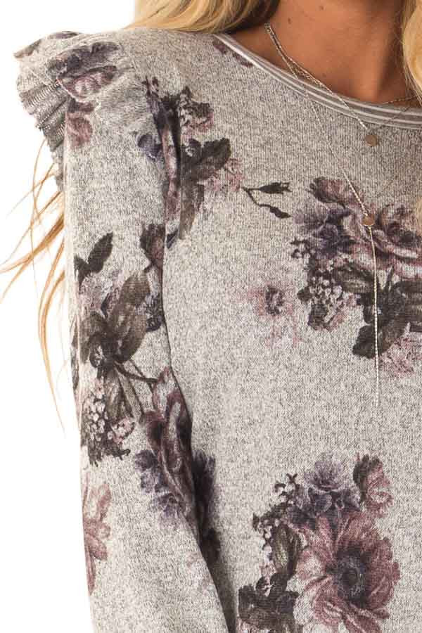 Heather Grey Floral Long Sleeve Top with Ruffle Detail detail