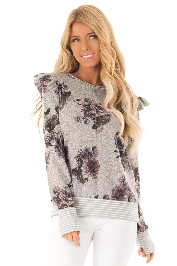 Heather Grey Floral Long Sleeve Top with Ruffle Detail front close up