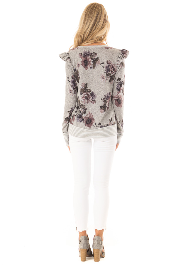 Heather Grey Floral Long Sleeve Top with Ruffle Detail back full body