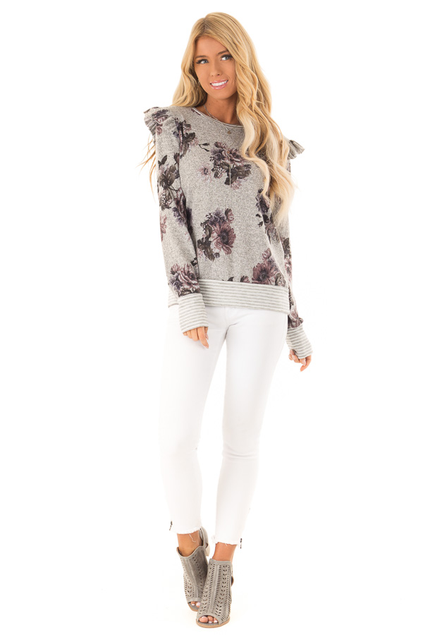 Heather Grey Floral Long Sleeve Top with Ruffle Detail front full body