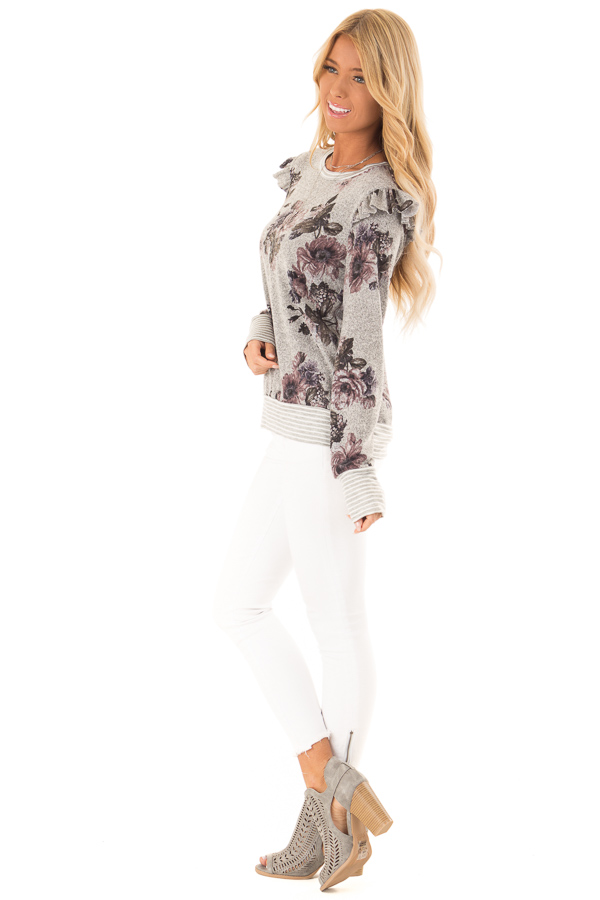 Heather Grey Floral Long Sleeve Top with Ruffle Detail side full body