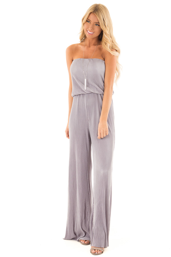 b34a793d4a9 Silver Ribbed Strapless Wide Leg Jumpsuit - Lime Lush Boutique