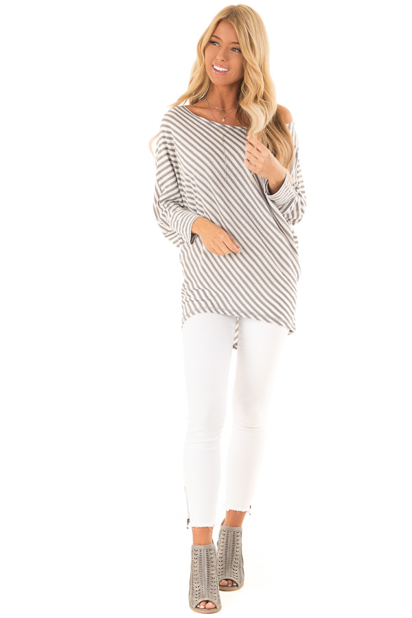 Heather Grey and Off White Striped 3/4 Batwing Sleeve Top front full body