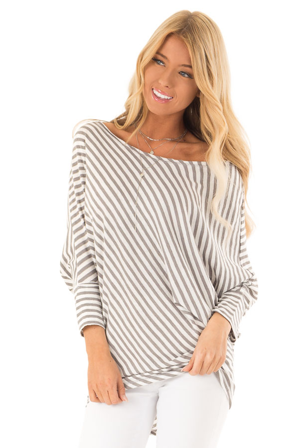 Heather Grey and Off White Striped 3/4 Batwing Sleeve Top front close up