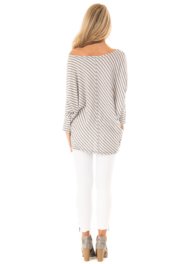 Heather Grey and Off White Striped 3/4 Batwing Sleeve Top back full body