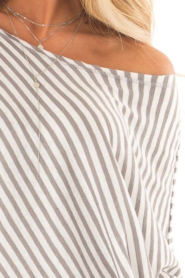 Heather Grey and Off White Striped 3/4 Batwing Sleeve Top detail