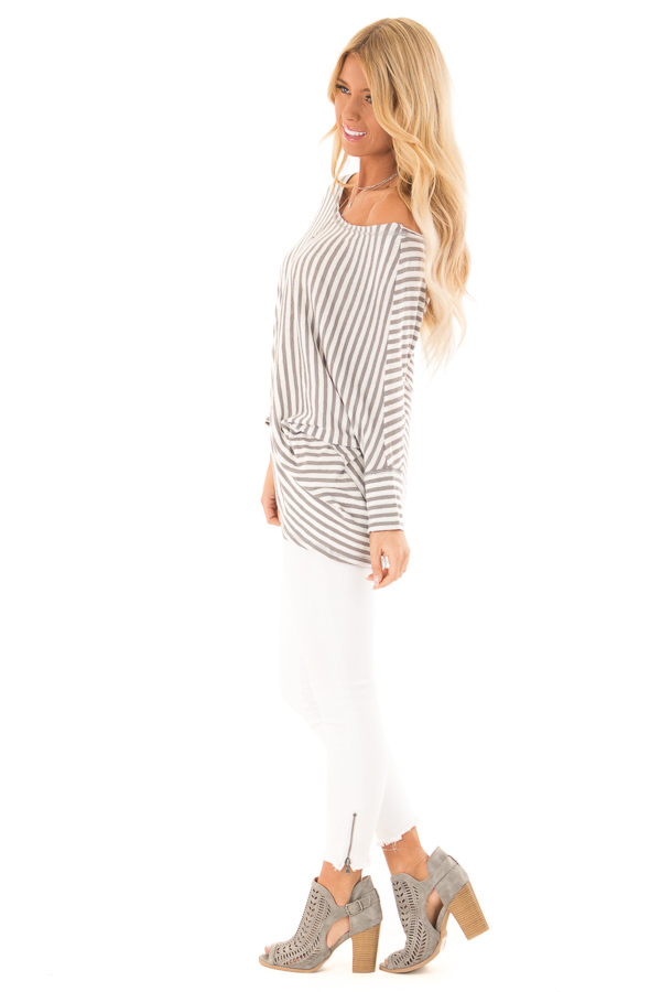 Heather Grey and Off White Striped 3/4 Batwing Sleeve Top side full body